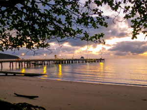 Palm Cove jetty, just a minutes walk away from your accommodation in Marlin Waters Beachfront Apartments.